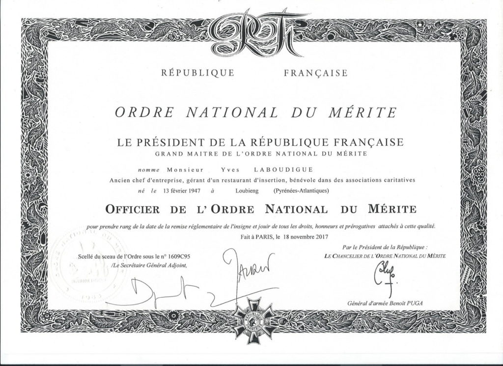 Ordre national du mérite- Yves Laboudigue